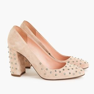 J.Crew embellished suede tan pumps K2909